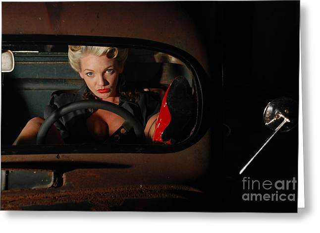 Pin Up Girl In A Classic Rat Rod Car Greeting Card by Jt PhotoDesign