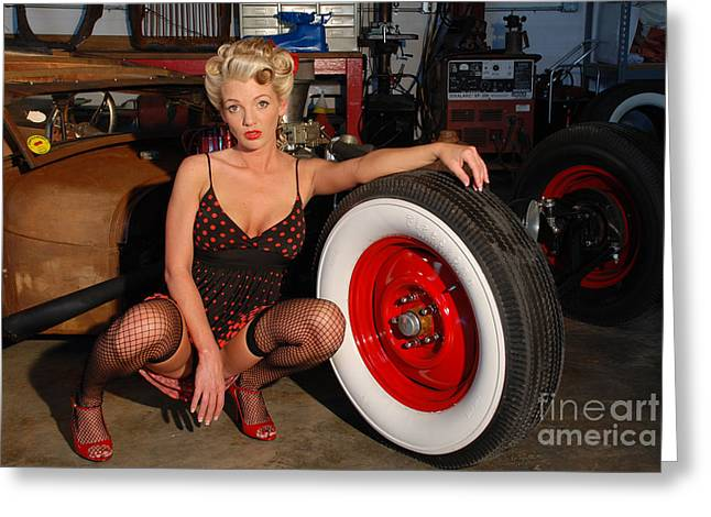 Pin Up Girl Greeting Card by Jt PhotoDesign