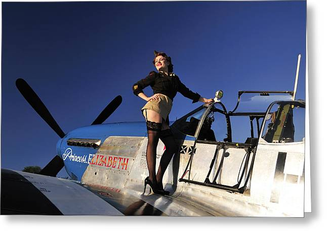 Pin-up Girl Standing On The Wing Greeting Card