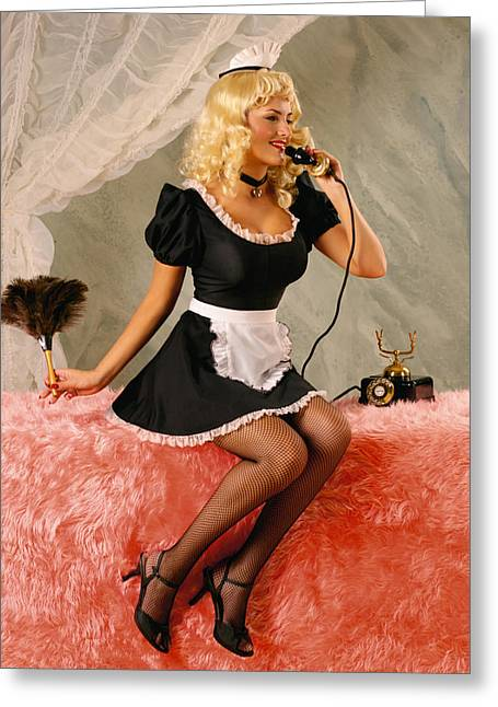 Pin-up Maid Greeting Card by Glenn Specht