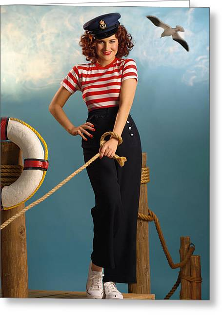 Pin-up Sailor Lady Greeting Card