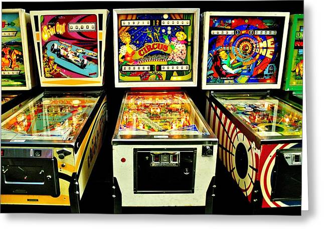 Pinball Past Time Greeting Card by Benjamin Yeager