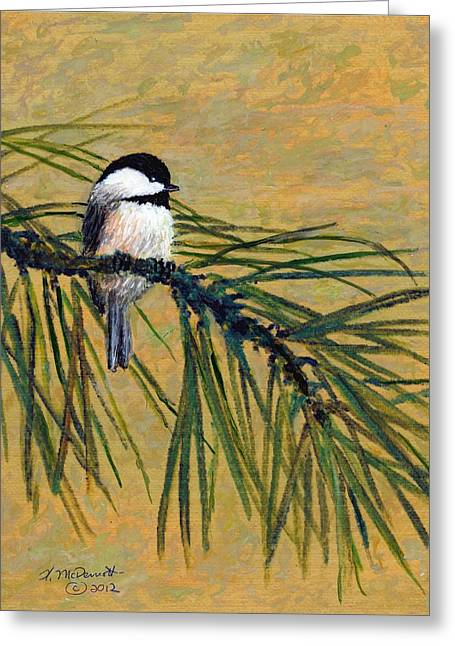Greeting Card featuring the painting Pine Branch Chickadee Bird 1 by Kathleen McDermott