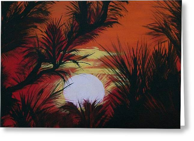 Pine Branch Silhouette Greeting Card by Sharon Duguay