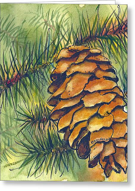 Greeting Card featuring the painting Pine Cone by Terry Banderas
