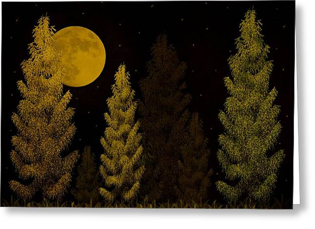 Pine Forest Moon Greeting Card