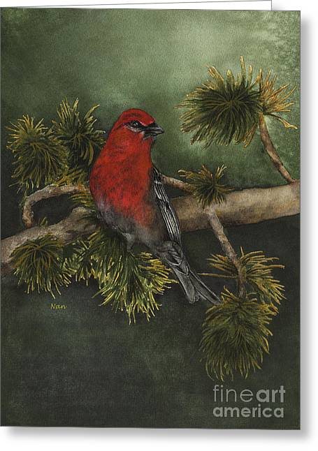 Pine Grosbeak Greeting Card