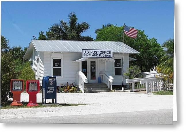 Pine Island Post Office Greeting Card by Melinda Saminski