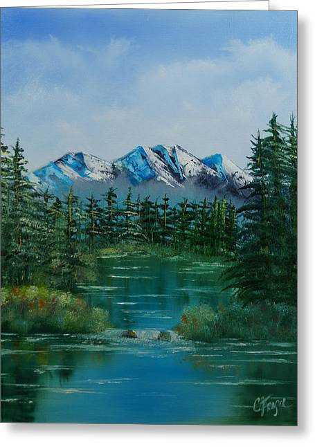 Greeting Card featuring the painting Pine Lake by Chris Fraser