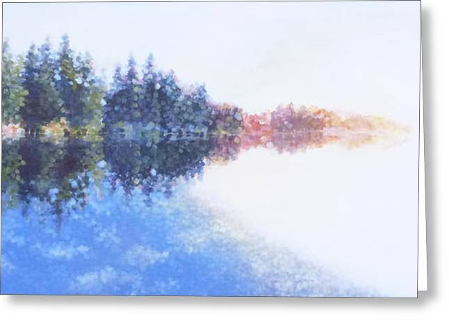 Pine Lake Reflection Greeting Card by Charles Smith