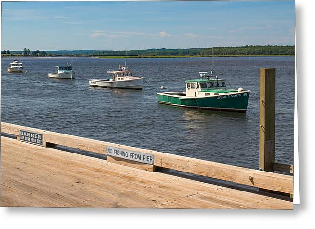 Pine Point Lobster Boat Line Greeting Card