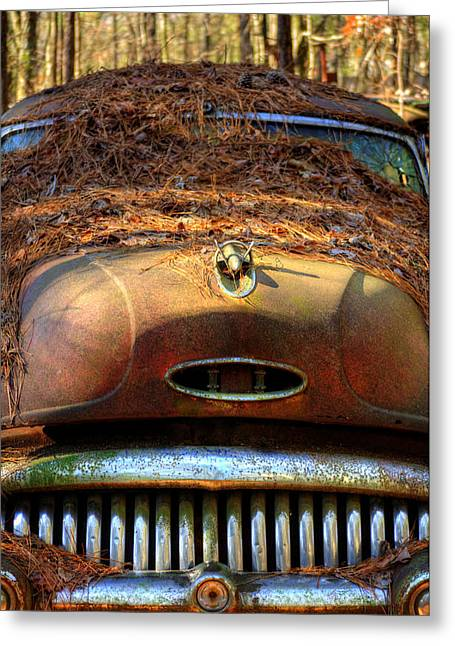 Pine Straw On Buick Greeting Card by Greg Mimbs