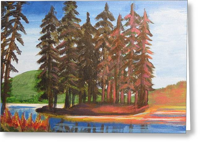 Greeting Card featuring the painting Pine Tree Island by Diana Riukas