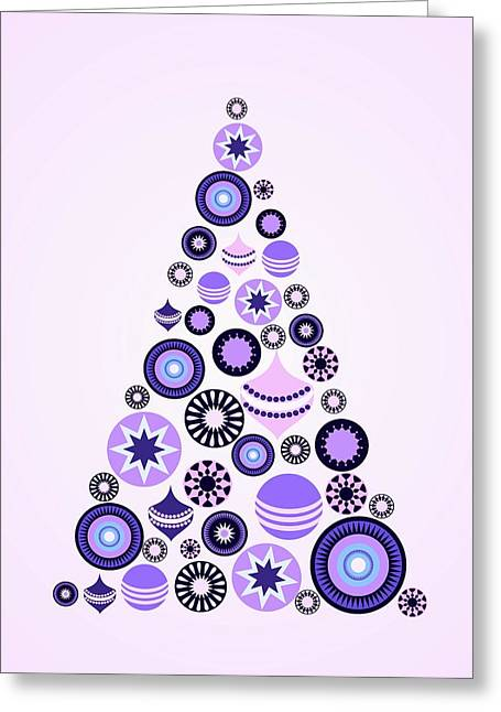 Pine Tree Ornaments - Purple Greeting Card by Anastasiya Malakhova