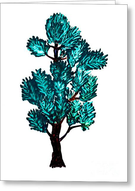 Pine Tree Painting Isolated Greeting Card by Simon Bratt Photography LRPS