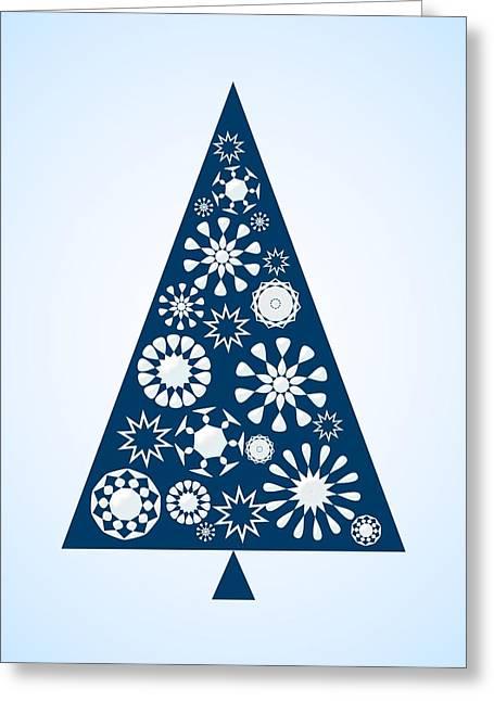 Pine Tree Snowflakes - Blue Greeting Card by Anastasiya Malakhova