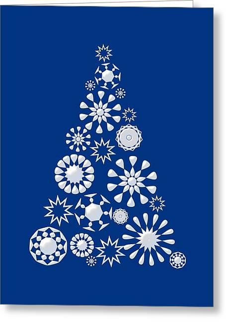 Pine Tree Snowflakes - Dark Blue Greeting Card by Anastasiya Malakhova