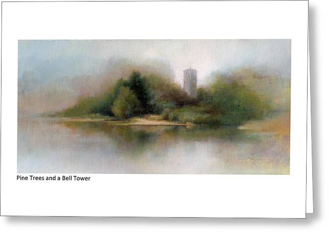 Pine Trees And A Bell Tower Greeting Card