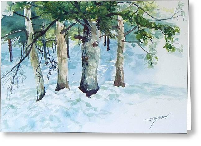 Pine Trees And Snow Greeting Card