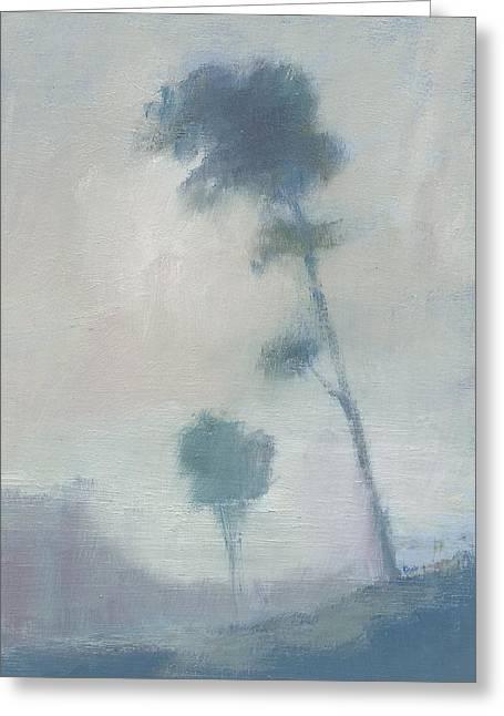 Pine Trees Through The Twilight Mist Greeting Card by Alan Daysh