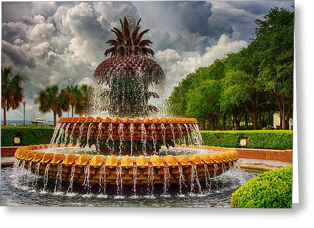 Pineapple Fountain Charleston Greeting Card