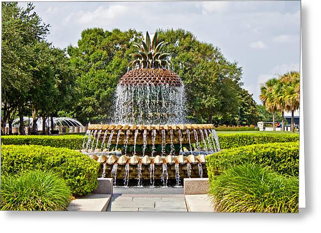 Pineapple Fountain In Waterfront Park Greeting Card