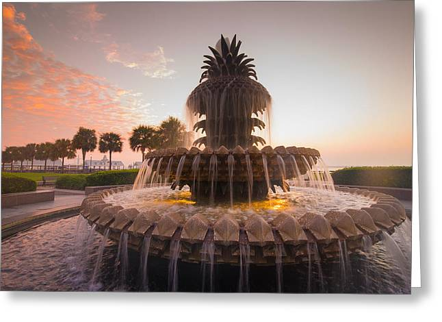 Greeting Card featuring the photograph Pineapple Fountain by Serge Skiba