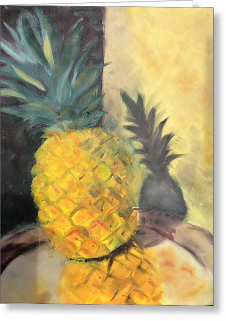 Pineapple On A Silver Tray Greeting Card