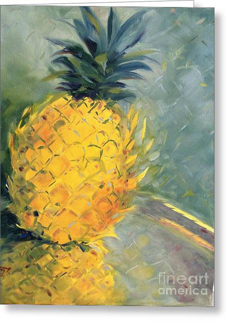 Pineapple On Soft Green Greeting Card