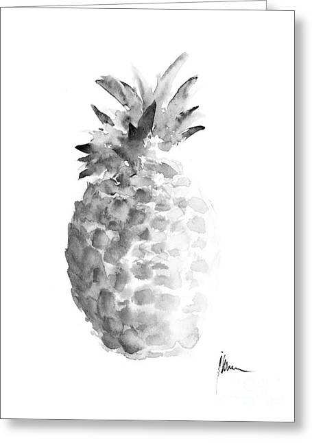Pineapple Painting Watercolor Art Print Greeting Card by Joanna Szmerdt