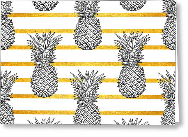 Pineapple Tropical Vector Seamless Greeting Card