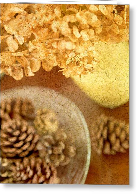 Pinecones And Hydrangae Greeting Card by Rebecca Cozart