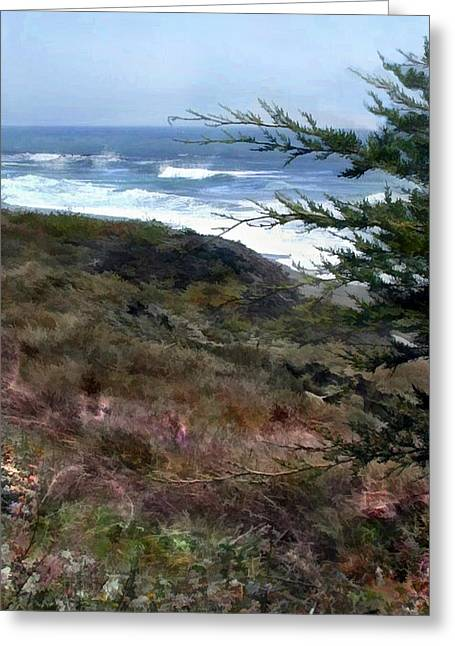 Pines At The Ocean Greeting Card by Elaine Plesser