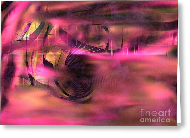 Greeting Card featuring the painting Pink Abstract Nature by Yul Olaivar