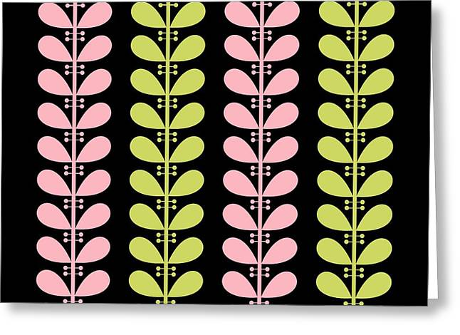 Pink And Avocado Leaves On Black Pillow Greeting Card