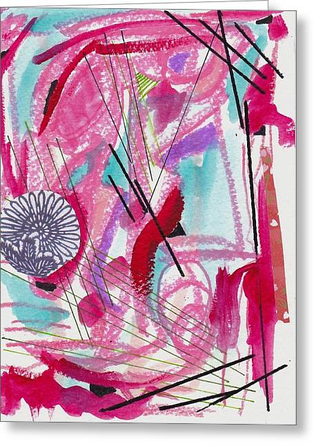 Pink And Black Lines Greeting Card