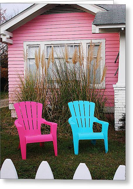 Pink And Blue Chairs By Jan Marvin Greeting Card