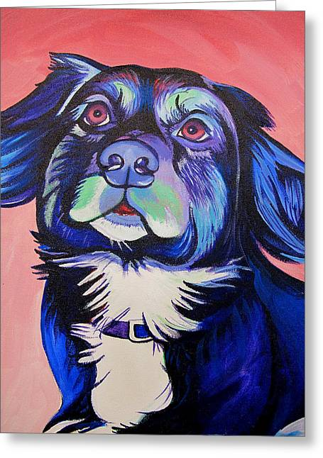 Greeting Card featuring the painting Pink And Blue Dog by Joshua Morton