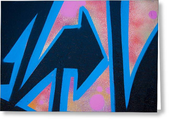 Pink And Blue Graffiti Arrow Greeting Card by Carol Leigh