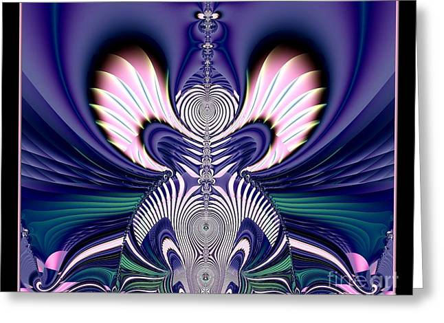 Pink And Blue Guardian Angel Fractal 99 Greeting Card by Rose Santuci-Sofranko