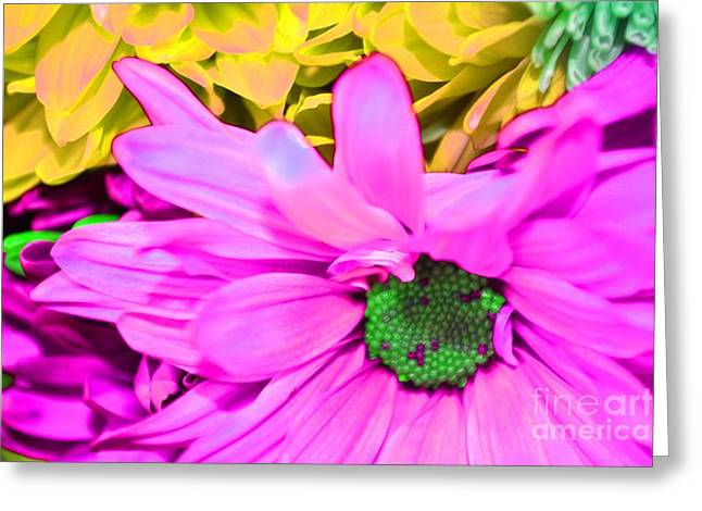 Pink And Green Flowers Greeting Card by LLaura Burge