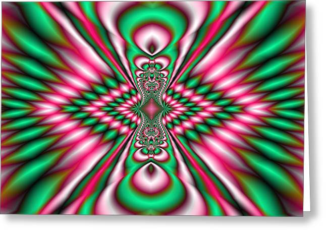 Pink And Green Fractal Kaleidoscope  Greeting Card by Gina Lee Manley