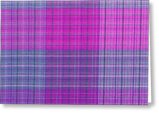 Pink And Purple Plaid Textile Background Greeting Card by Keith Webber Jr