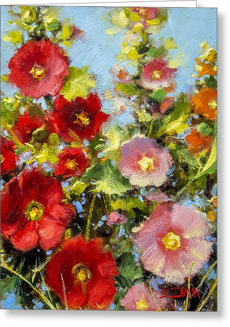 Pink And Red In The Flower Bed Greeting Card by Bill Inman