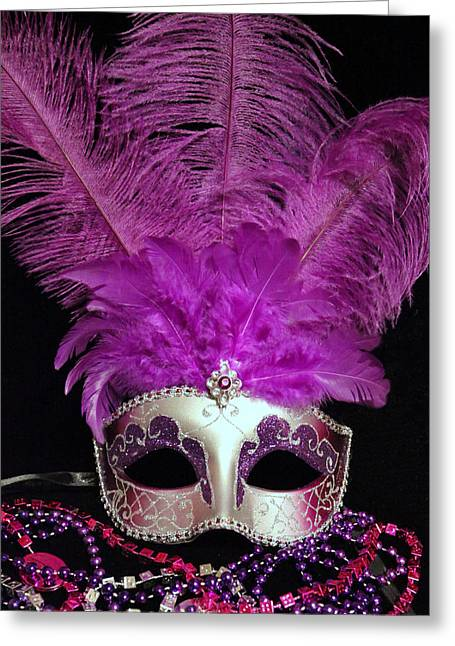 Pink And Silver Mardi Gras Mask Greeting Card