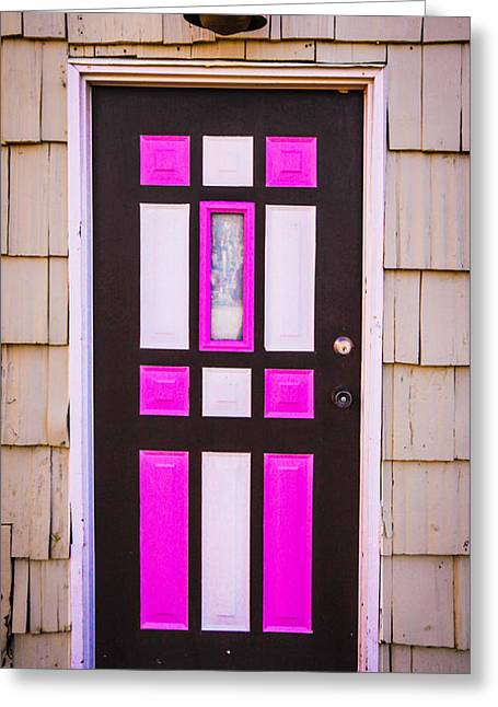Pink And White Door Greeting Card