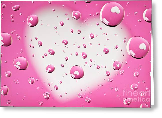 Pink And White Heart Reflections In Water Droplets Greeting Card by Sharon Dominick