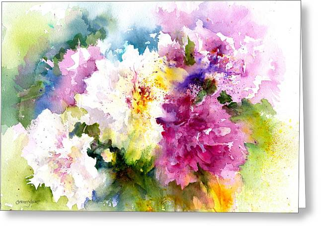 Pink And White Peonies Greeting Card by Christy Lemp