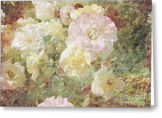 Pink And White Roses With Tapestry Look Greeting Card