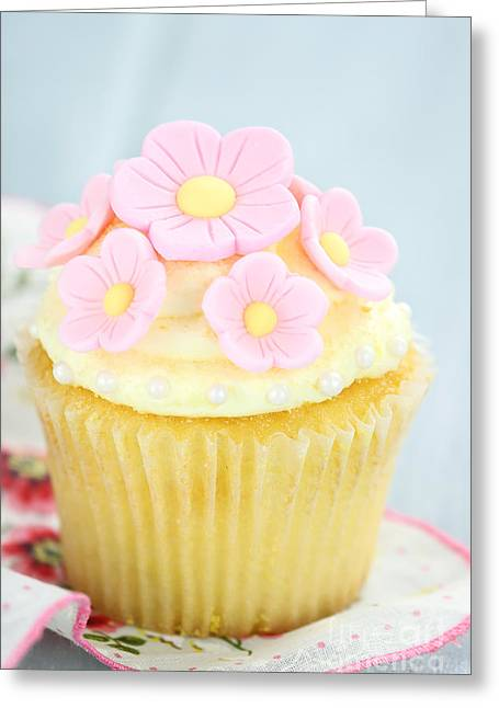 Pink And Yellow Cupcakes Greeting Card by Stephanie Frey